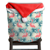 Christmas Chair Covers Flamingo Christmas Prints Red Chair Back Covers Slipcover Polyester And Velvet 50cm