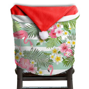 Christmas Chair Covers Flamingo Flowers Prints Red Chair Back Covers Slipcover Polyester And Velvet 50cm