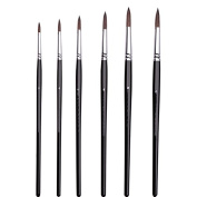 Professional Watercolour Brushes for Gouache, Watercolours, Fluid Acrylics and Inks - Round, Pointed, Long-Lasting Squirrel and Synthetic Blend, Short Handle, 6-pcs Set.