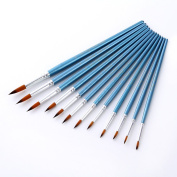 12Pcs Nylon Hair Artist Painting Tool Wooden Watercolour Point Tip Brushes Set