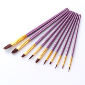 10Pcs/Set Round Pointed Tip Detail Paint Nylon Hair Acrylic Painting Brushes