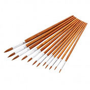 12Pcs Nylon Hair Wooden Handle Paintbrush Water Colour Drawing Painting Brushes