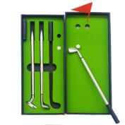 Golf Pen Set, NALAKUVARA Mini Desktop Golf Ball Pen Gift Set with Putting Green, Flag, 3 Colours Metal Golf Clubs Models Ballpoint Pens & 2 Balls