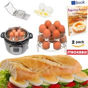 Instant Pot Egg Rack Steamer - 14 Eggs - STACKABLE 2-Tier - BEST Bundle - Fits Instapot Pressure Cooker - 100% Stainless Steel - BONUS Accessories - Slicer + eBook - Steam Food Insert - Use as Trivet