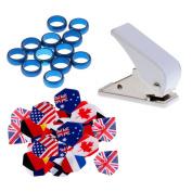 MagiDeal 40 Pcs Dart Flights + Rectangular Hole Puncher +12pcs Spare O rings