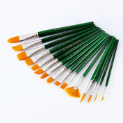PIXNOR Artist Paintbrush Set, Paint Brushes Art Set for Acrylic/Oil/Watercolour - 15 Pieces Round Pointed Tip