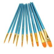 Bluester 10Pcs Artists Paint Brush Set Acrylic Watercolour Round Pointed Tip Nylon Hair