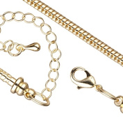 Bracelet Chain For Large Hole Charms (European Style) 14K-Gold Finished 2.7mm Snake 7.5 Inch With Lobster Claw Clasp And Extension Chain pack of 2