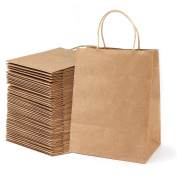 Segarty 100pcs Heavy Duty Kraft Paper Bags - Shopping Merchandise Bags with Handles, Brown Natural Bags for Gifts, Arts & Crafts, Retail, 21cm x 27cm X5.13cm