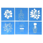 Cactus and Succulent Stencil Templates -- Set of Six 10cm Desert Southwest Designs for Home Decor, Paper Crafting, Scrapbooking, Journaling, and Multimedia Art & Craft Projects