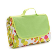 ULTNICE Outdoor Waterproof Blanket Picnic Mat with Tote - Green Colourful Point