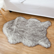 OJIA Deluxe Soft Faux Sheepskin Chair Cover Seat Pad Plain Shaggy Area Rugs For Bedroom Sofa Floor 0.6m x 0.9m