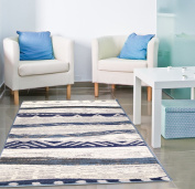 Adgo Atlantic Collection Modern Abstract Geometric Sand Wave Indian Contemporary Carpet Thick Plush Stain Fade Resistant Easy Clean Bedroom Living Room Floor Rug, Blue Beige, 1.8m x 2.7m
