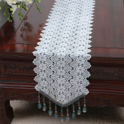 QiangZi Table Runner Blue Bead Chain Multi Tassels Openwork Tablecloth Luxury Placemat Wedding Party Decorative,30*250CM