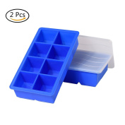 Pack of 2 XXL Silicone Ice Cube Tray With Lid For 8 Jumbo Ice Cube Ice Cube Tray For Whiskey, Cocktails And Drink 48 x 48 mm BPA Free Blue