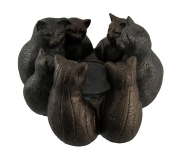 Resin Candleholders Kitty Cluster Circle Of Cats Candle Holder 9.25 X 15cm X 23cm Bronze