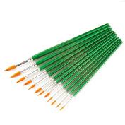 Bobury 12pcs Nylon Hair Pointed-head Tip Paint brush Watercolour Oil Painting Supplies