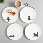 Cat Side Plates, Set of Four Fine Bone China White Plates, Gift for Cat Lovers