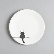 Crouching Cat Side Plate, Fine Bone China, Gift for Cat Lover