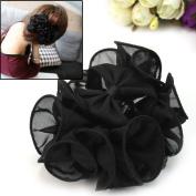 Bgoodgirl Women's Rose Flower Bow Hair Clip Floral Hair Jaw Claw Clip Accessories A-Black