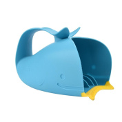 Bescita Baby Tear-Free Waterfall Rinser Bathing Cup Child Blue Cartoon Whale Silicone Bathing Water Spoon with easy grip handle