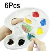 6PCS Watercolour Palette 10 Wells Thumb Hole Plastic Art Paint Palette Tray Artist