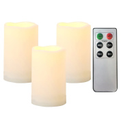 """Outdoor Indoor Flameless LED Battery Operated Candles with Remote and Timer by iZAN Long Lasting Waterproof Realistic Flickering Electric Pillar Candles 3-Pack Size-3""""(D)x5"""""""