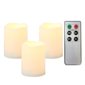 """Outdoor Indoor Flameless LED Battery Operated Candles with Remote and Timer by iZAN Long Lasting Waterproof Realistic Flickering Electric Pillar Candles 3-Pack Size-3""""(D)x4"""""""