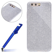 Huawei P10 Plus Case,Glitter Case for Huawei P10 Plus,MoreChioce Premium 3 in 1 Bling Sparkle Soft TPU Silicone Crystal Case Bumper,Cute Dark Grey Print Transparent Shinny Protective Back Cover Rubber Flexible Gel Shell for Huawei P10 Plus + 1x Blue St ..