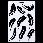 HuntGold Hollow Feather Wall Painting Stencil Drawing Template Tool DIY Craft for Pigment Stamp Scrapbooking Card Making Home Furniture Decor