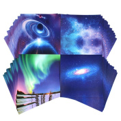 ZyXy 60 Sheets Origami Paper Beautiful Sky Premium Quality for Arts and Crafts , Different Colours and Patterns