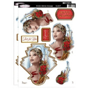 Debbi Moore Designs ~ Art Deco Decoupage ~ Lady In Gold Die Cut Toppers & Christmas Sentiments