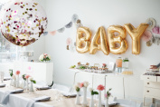 90cm Confetti Balloons Pink and Gold foil Paper Clear Large Balloons Light up your Happy Birthday or baby shower party