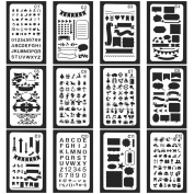 Vancool 24 Pack Bullet Journal Stencil Set Plastic Planner Drawing Template for Journary/Notebook/Diary/Scrapbook, 10cm x 18cm , Over 1200 New Different Patterns of Journal Stencil Painting