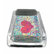 Abstract Pixel Heart Em1 Glass Ashtray Smoking/Coin Holder 10cm x 7.6cm Heavy Duty Decorative Easy Clean Great For Bars And Patios