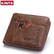 KAVIS 100% Genuine Leather Wallet Men Coin Purse Male Cuzdan Small Walet New