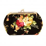 Retro Vintage Purse, Women Flower Small Wallet Canvas Hasp Purse Clutch Bag Coin Purse