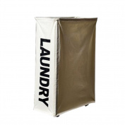 Hzjundasi Metal Frame w/ Wheels Laundry Basket Hamper Home Washing Clothes Storage Case Bag