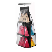 Handbag Hanging Organiser, FAVOLOOK 6 Pocket Handbag Anti-dust Cover Clear Hanging Closet Bags Organiser Purse Holder Collection Shoes Save Space