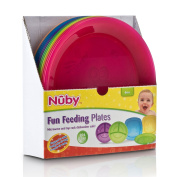 Nuby Fun Feeding Roudn Plates 6m+ Microwave and Top Rack Dishwasher Safe - COLOURS MAY VARY