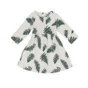 Tangbasi® Leaf Printed Kids Baby Girl Dress Long Sleeve Cotton Spring Mini Dress Outfits for 1-5 Years Old