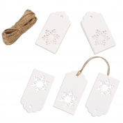 Whale 100 Pcs Paper Tags Kraft Gift Tags Snowflake Shape Hang Labels with 30 Metres Twine for Wedding Valentine's Day and DIY Arts and Crafts Decorations