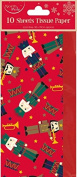 Christmas Tissue Paper Nutcracker Toy Soldier 10 Sheets Gift Wrap Wrapping Pack
