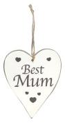 Oaktree Heart Best Mum Wall Hanging, Wood, White, 15.6 x 10 x 0.5 cm