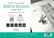 A2 Bristol Board Pad. 20 Sheets of High White Smooth 250gsm Board. By Vesey Gallery Made in UK