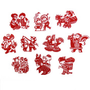 Set of 2 Chinese Traditional Art Paper Cutting Collection Souvenir Small Gift, Folk Dolls