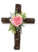 Floral Cross Wreath Hanging Easter Decoration - Front Door Twig Wreath Spring Decoration