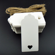 100pcs 9.5cm*4.5cm Kraft Paper Tag Blank for Wedding Favour Cards,Gift Tag,DIY Tag,Luggage Tag,Price Label,Store Hang Tag (100) with heart
