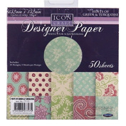 Icon Craft, Designer Paper - Hints of Green and Turquoise, 10 Designs, 5 Sheets per Design, Size 152mm Square