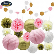 KUNGYO Tissue Paper Pom Poms Kit Flowers Paper Lanterns and Polka Dot Paper Garland for Wedding Party Decorations 16 PCS